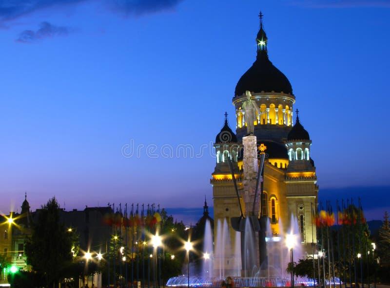 Het Vierkant van Iancu van Avram, cluj-Napoca, Roemenië. royalty-vrije stock afbeelding