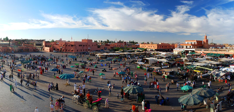 Het vierkant van Jemaa Gr-Fnaa. Marrakech, Marokko royalty-vrije stock foto's