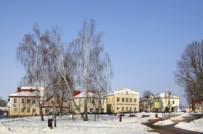 Het vierkant van Lenin in Slonim wit-rusland stock foto
