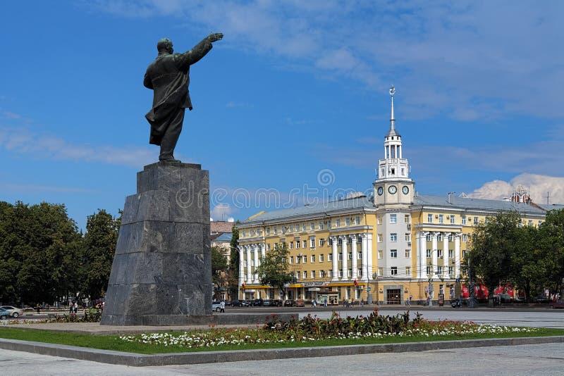 Het Vierkant van Lenin in Voronezh, Rusland stock foto