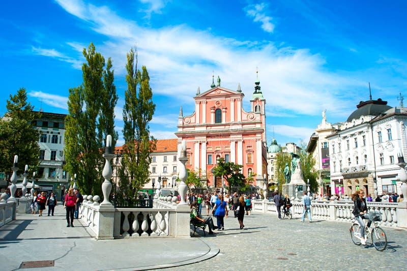 Het Vierkant van Ljubljana Preseren royalty-vrije stock foto's