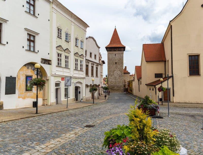 Het vierkant van Masaryk in Znojmo - Tsjechische Republiek Historisch centrum downtown stock afbeelding