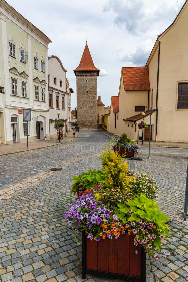 Het vierkant van Masaryk in Znojmo - Tsjechische Republiek Historisch centrum downtown stock afbeeldingen