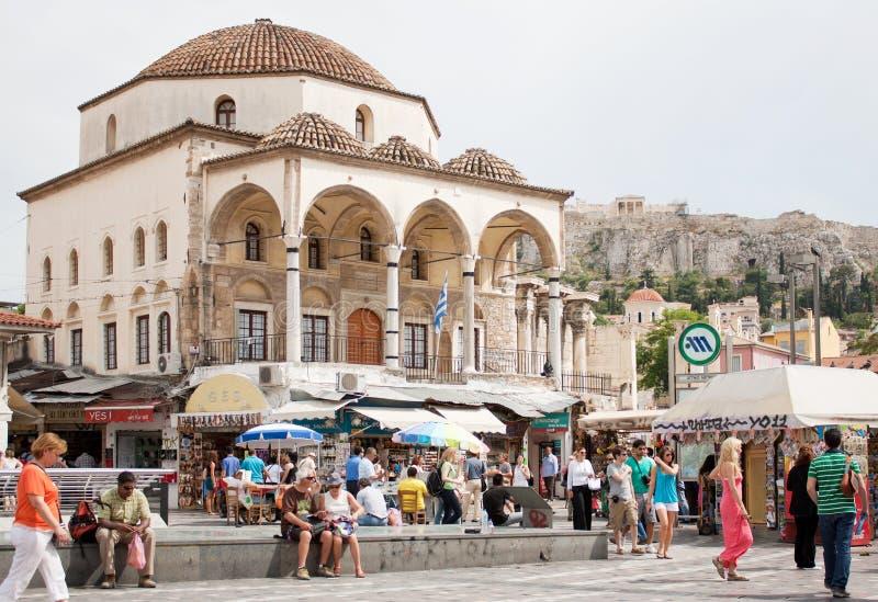 Het Vierkant van Monastiraki in Athene, Griekenland stock foto's