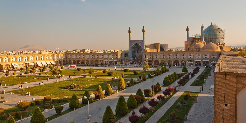 Het Vierkant van naqsh-e Jahan in Esfahan royalty-vrije stock foto's