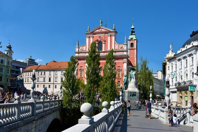Het Vierkant van Preseren, Ljubljana stock afbeelding