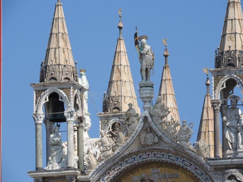 Het vierkant van San Marco met Campanile en de Basiliek van San Marco Het belangrijkste vierkant van de oude stad Venetië, Veneto royalty-vrije stock fotografie