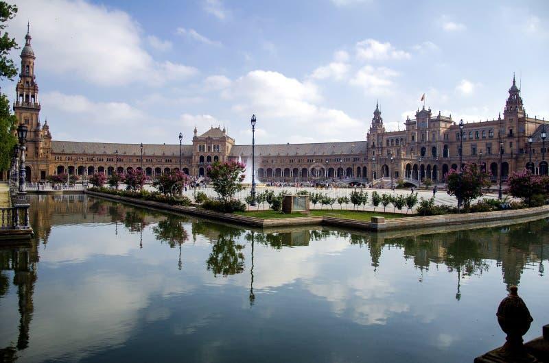 Het Vierkant van Spanje in Sevilla, Spanje stock foto's