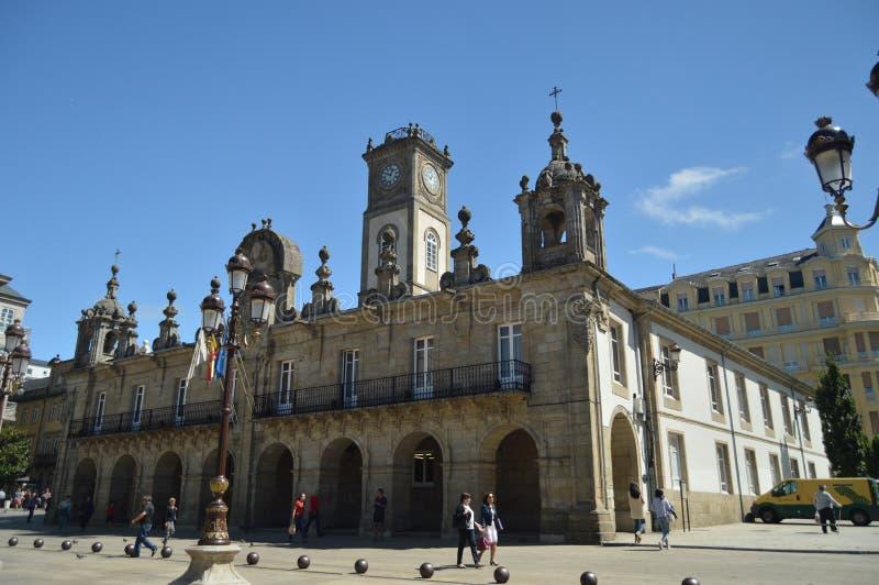 Het Vierkant van stadshall building in the main van Lugo royalty-vrije stock afbeeldingen