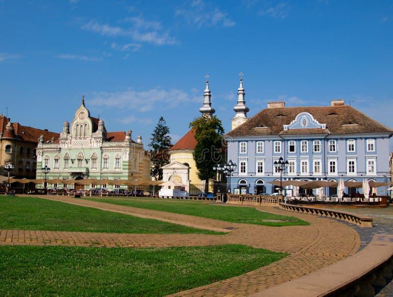 Het Vierkant van Unirii, Timisoara, Roemenië (2) stock foto's