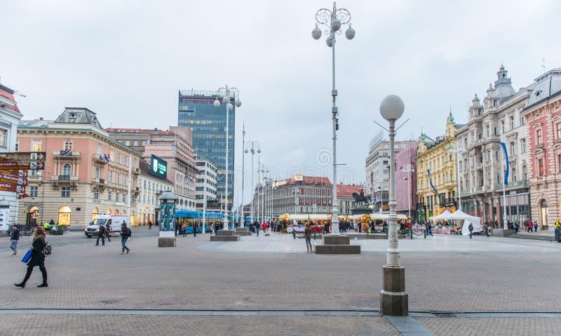 Het vierkant van verbodsjosip jelacic in Zagreb, Kroatië royalty-vrije stock foto