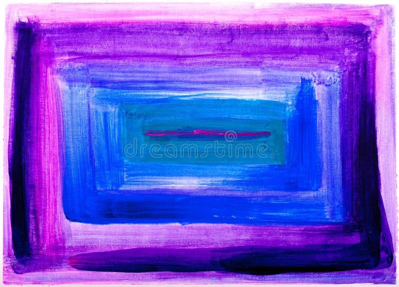 Het vierkante abstracte purpere en blauwe schilderen stock foto
