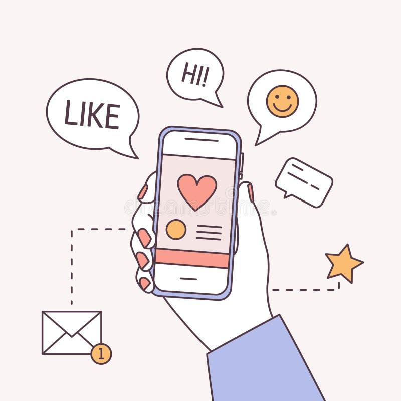 Het vierkante bannermalplaatje met smartphone van de handholding, toespraak borrelt en nieuw berichtsymbool Sociale media Marketi stock illustratie