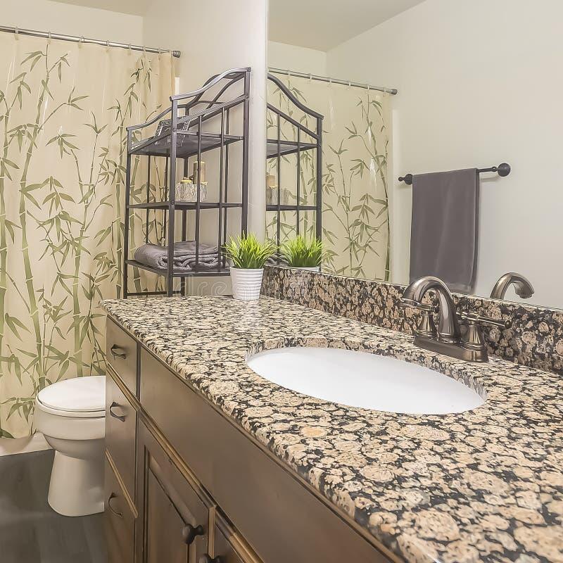 Het vierkante binnenland van de kaderbadkamers van een huis met grijze houten vloer en witte muur royalty-vrije stock foto