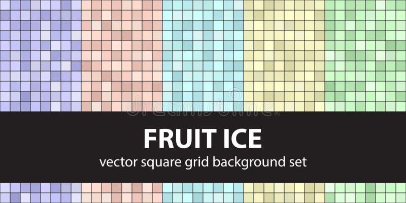 Het vierkante Ijs van het patroon vastgestelde Fruit Vector naadloze tegelachtergronden royalty-vrije illustratie