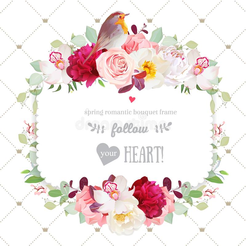 Het vierkante kader van de de herfstdecoratie met bloemen en de vogel van Robin stock illustratie