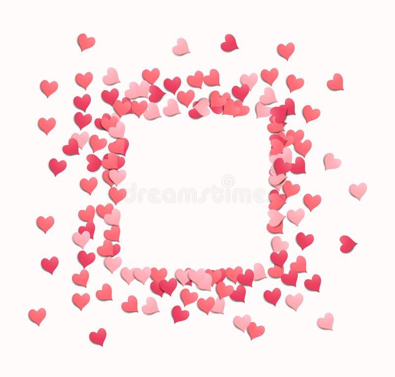 Het vierkante Kader van Hartconfettien vector illustratie