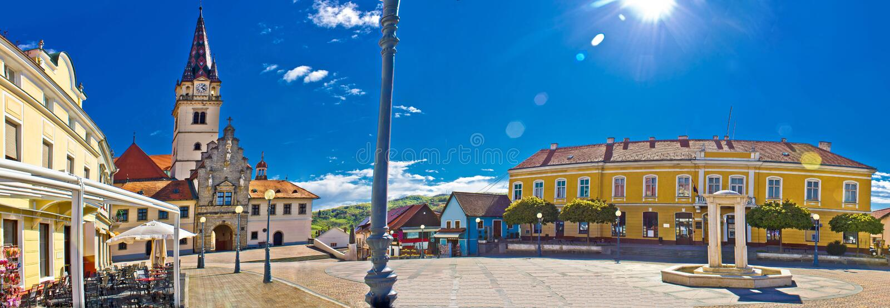 Het vierkante kleurrijke panorama van Marija Bistrica royalty-vrije stock foto's