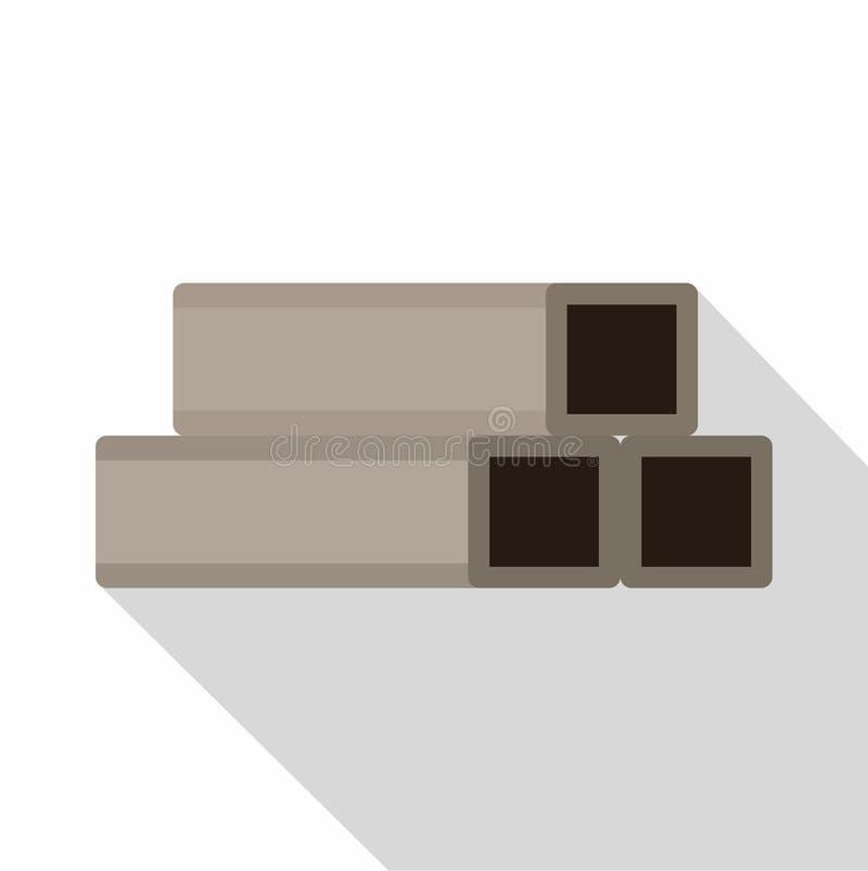 Het vierkante pictogram van metaalbuizen, vlakke stijl stock illustratie