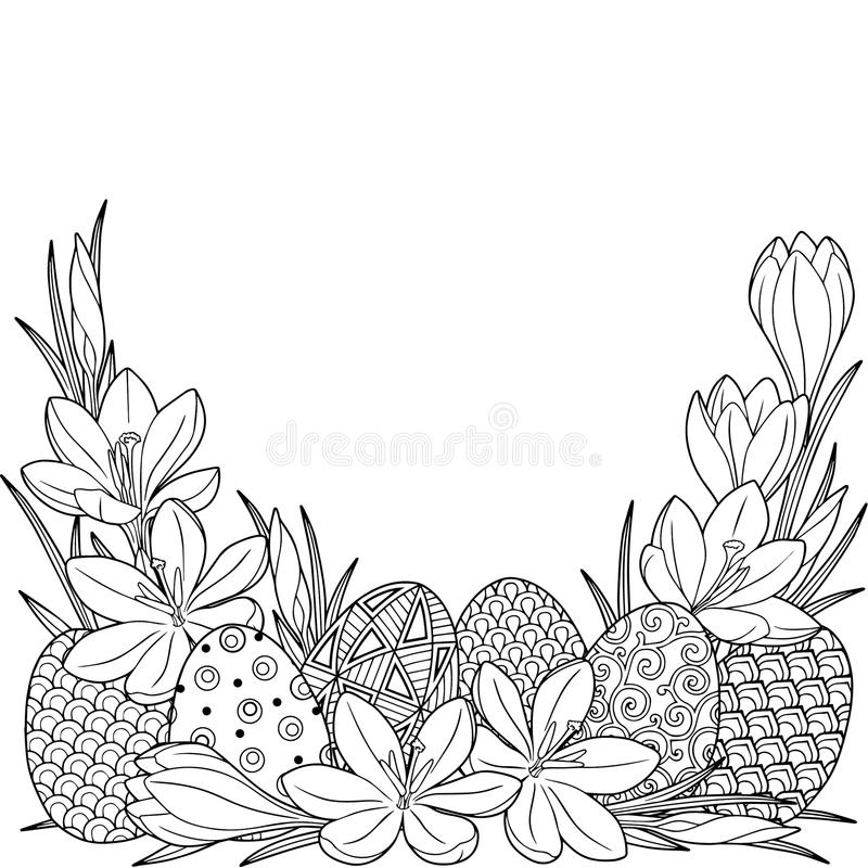 Het vignet van de de lentebloem van krokussen en Pasen egss Vector geïsoleerde elementen Zwart-wit beeld voor volwassen ontspanni stock illustratie