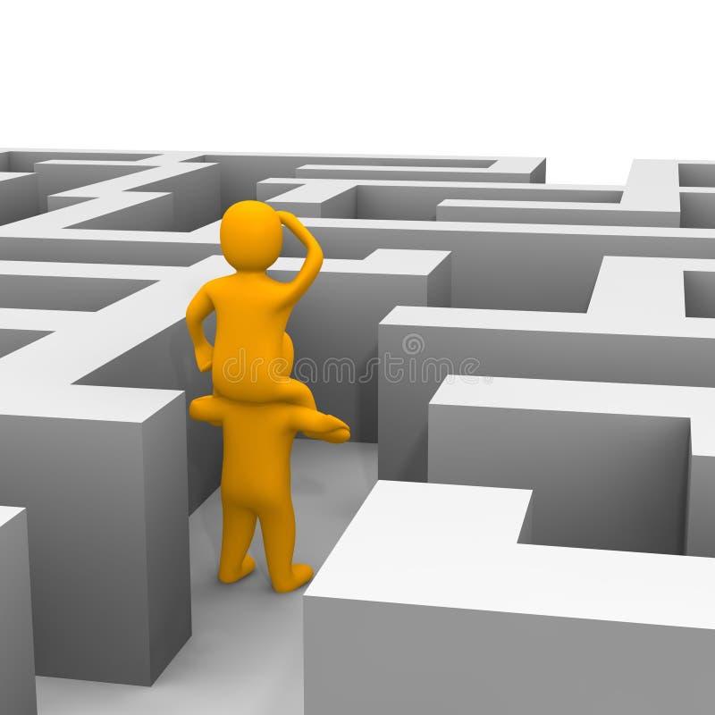 Het vinden van weg door labyrint vector illustratie