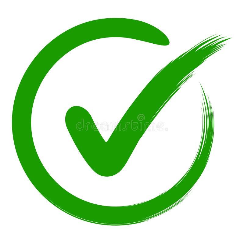 Het vinkje van het goedkeuringssymbool in een cirkel, een getrokken hand, een vector groene teken O.K. goedkeuring of een persoon royalty-vrije illustratie
