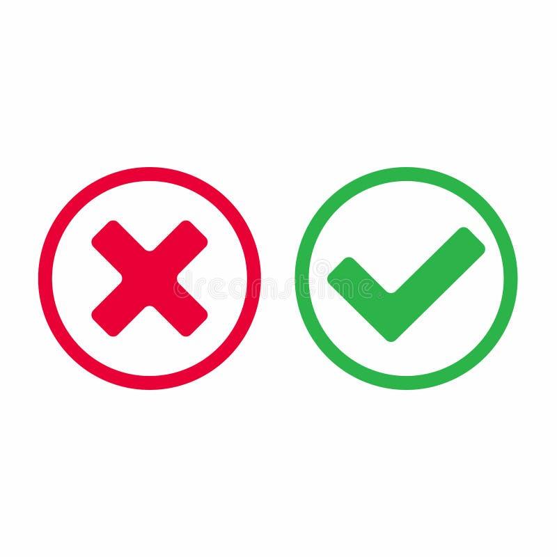 Het vinkjepictogram ondertekent vectorillustratie Ja of juiste en verkeerde vlakke ontwerpversie de van nr, van vinkjeknopen stock illustratie