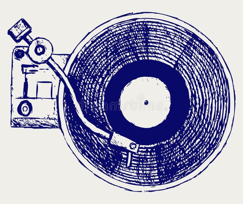 Het vinylverslag van de platenspeler stock illustratie
