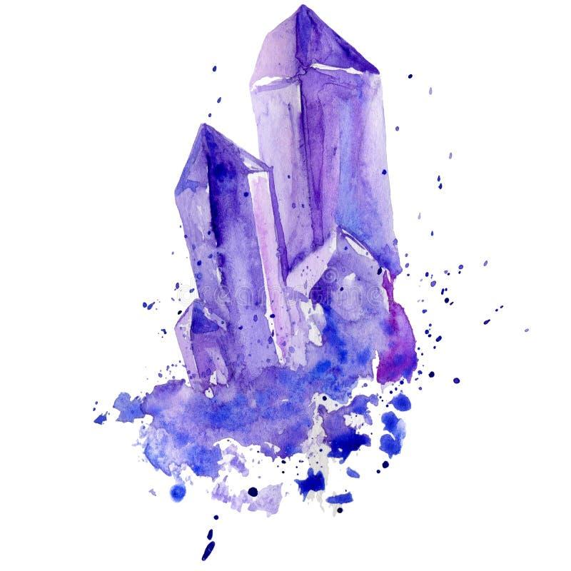 Het violetkleurige van het waterverf purpere kristal cluster hand getrokken die schilderen illustratie op witte achtergrond wordt royalty-vrije illustratie