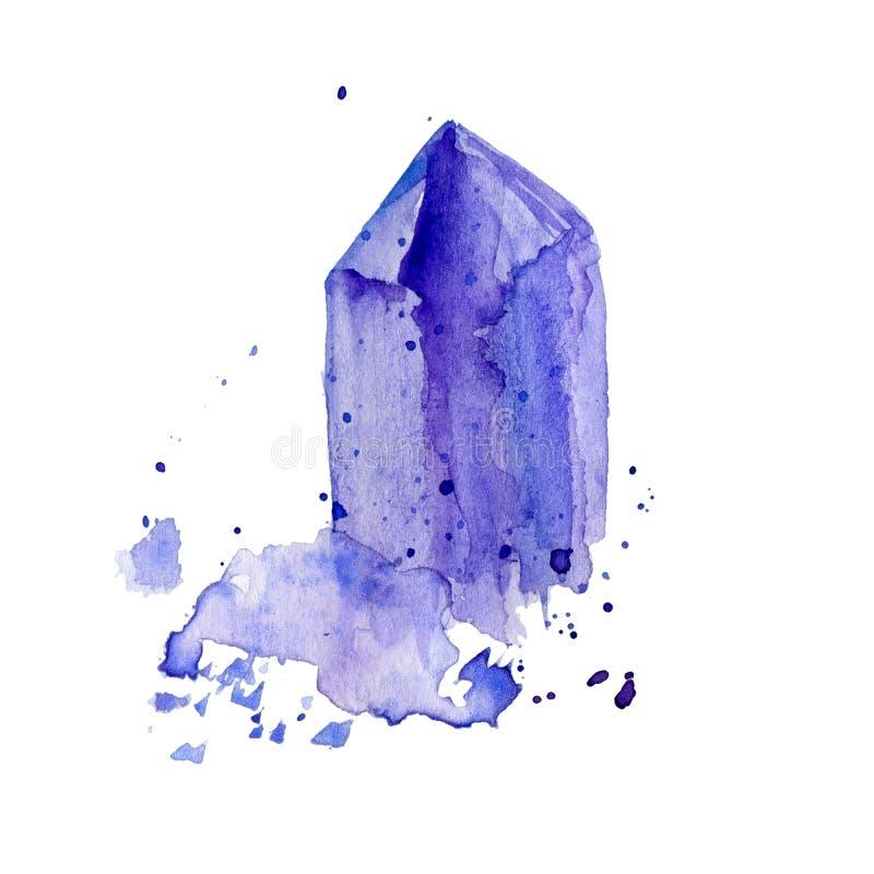 Het violetkleurige van het waterverf purpere kristal cluster hand getrokken die schilderen illustratie op witte achtergrond wordt stock illustratie