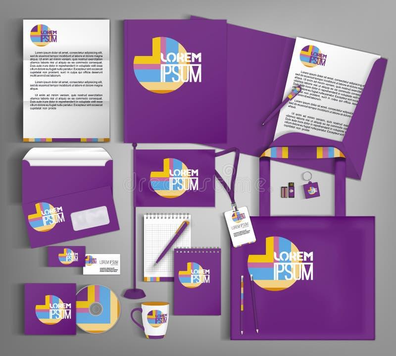 Het violette in collectieve ontwerp van het identiteitsmalplaatje Moderne abstracte bedrijfs vastgestelde kantoorbehoeften royalty-vrije illustratie