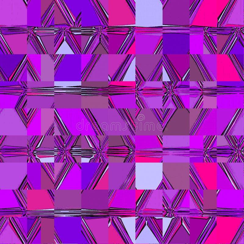 Het violette en purpere ononderbroken mozaïek van vierkantenelementen stock illustratie