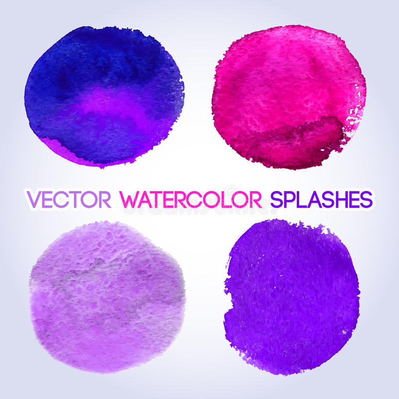 Het violette gestalte gegeven ontwerp van de schaduwenwaterverf rond stock illustratie