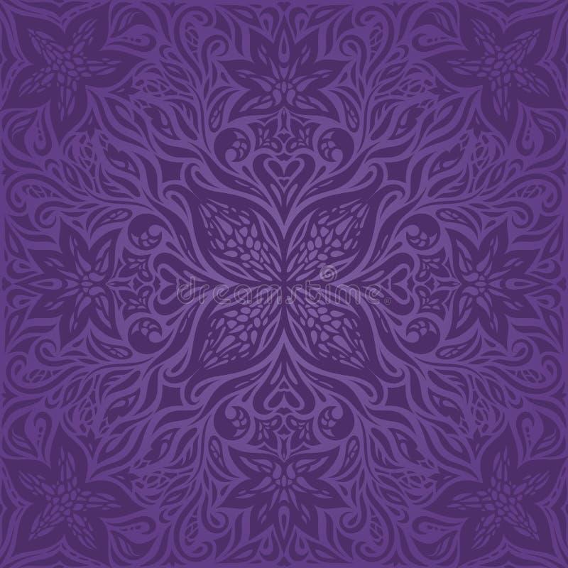Het violette purpere ontwerp van van het Achtergrond bloemen uitstekende naadloze patroon Bloemen in maniermandala stock illustratie