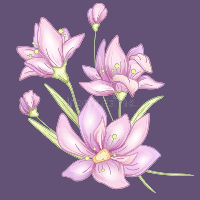 Het viooltje van de bloemtak vector illustratie