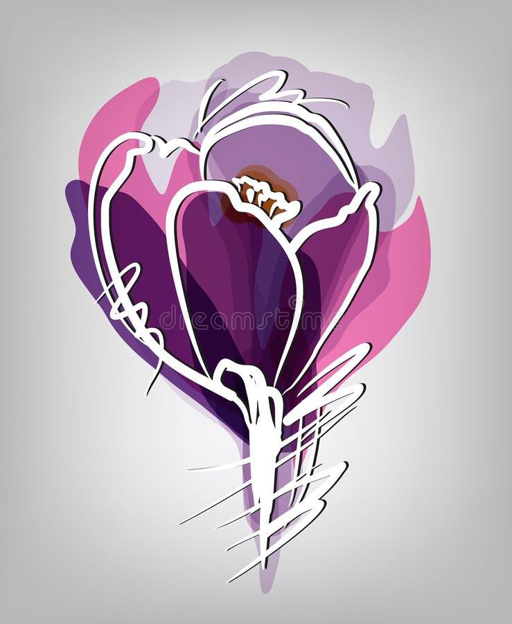 Het viooltje van de tulpenbloem stock illustratie