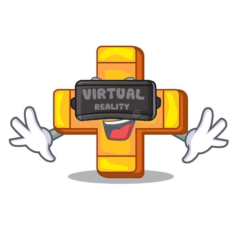 Het virtuele beeldverhaal van het de toevoegingssymbool van het werkelijkheids retro plusteken vector illustratie
