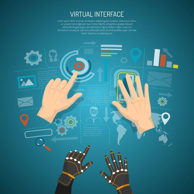 Het virtuele Concept van het Interfaceontwerp vector illustratie