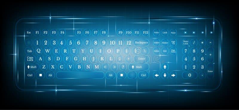 Het virtuele glanzende toetsenbord of het toetsenbord van computerpc op blauw royalty-vrije illustratie