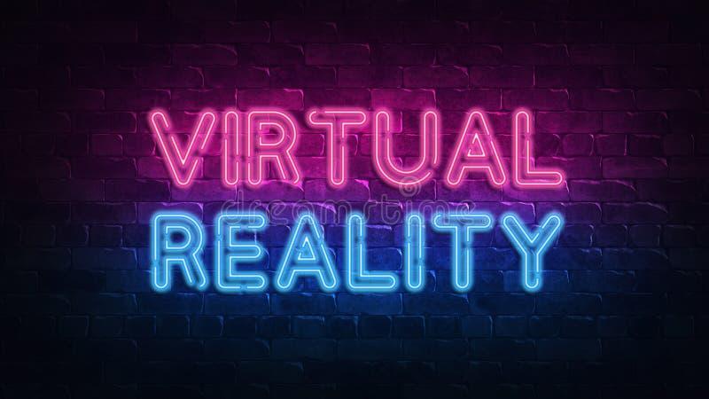 Het virtuele teken van het werkelijkheidsneon voor decoratieontwerp Gloeiende neonbanner VR hoofdtelefoon Zwarte achtergrond VR b royalty-vrije illustratie