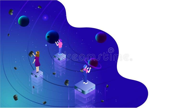 Het virtuele werkelijkheidsconcept baseerde isometrisch ontwerp met illustratie van mensen die aan denkbeeldig heelal letten op royalty-vrije illustratie