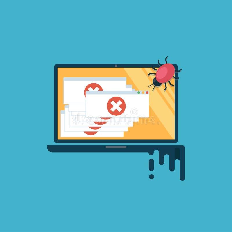 Het virus van de computer De computer is besmet, zijn er heel wat waakzame berichten vector illustratie