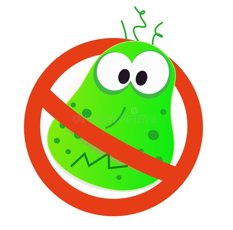 Het virus van het einde - groen virus in rood waakzaam teken royalty-vrije illustratie