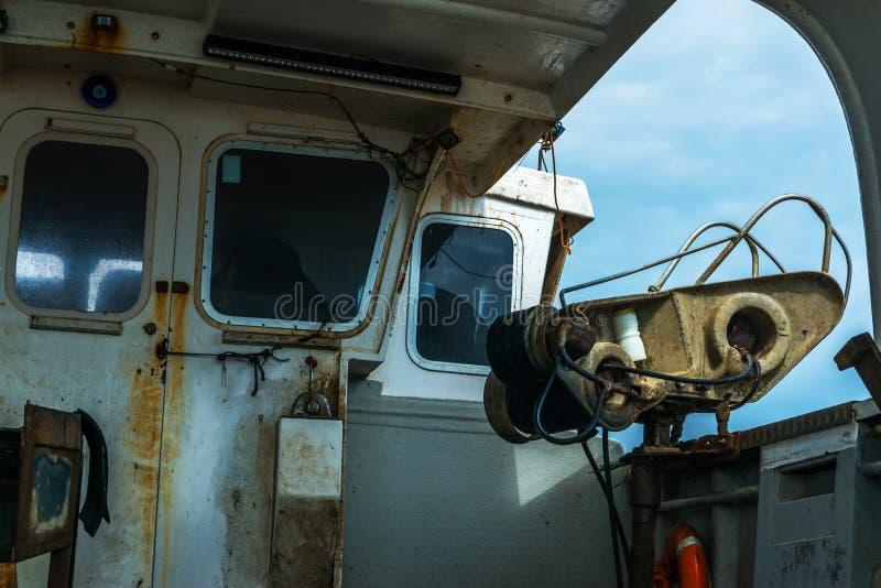 Het vissersboot` s binnenland, de rechterkant van de boot, fis royalty-vrije stock afbeeldingen