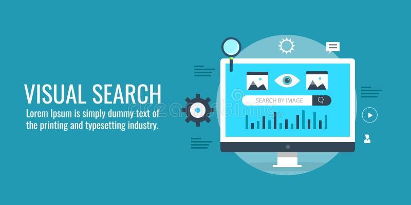 Het visuele onderzoek, digitaal onderzoek, vindt gegevens, informatie, onderzoek, optimaliseringsconcept Vlakke ontwerp vectorban royalty-vrije illustratie