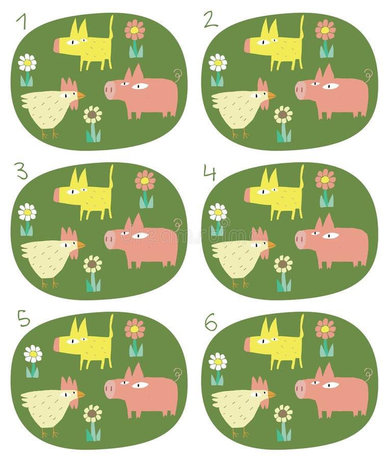 Het Visuele Spel van gelijkeparen: Dieren stock illustratie