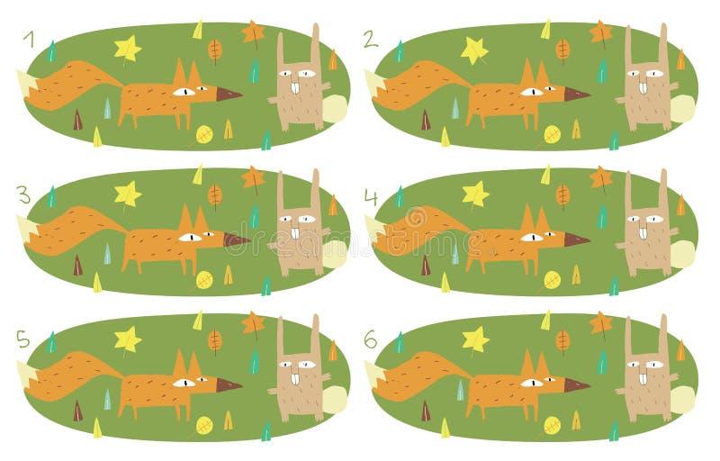 Het Visuele Spel van gelijkeparen: Foy en Konijn vector illustratie