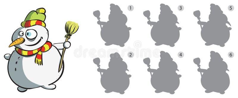 Het Visuele Spel van het Spiegelbeeld van de sneeuwman royalty-vrije illustratie