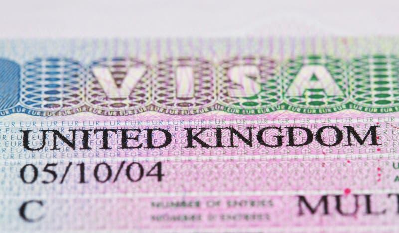 Het Visum van het Verenigd Koninkrijk stock fotografie