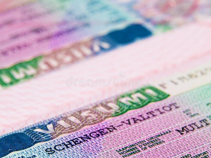 Het visum van Shengen stock afbeeldingen